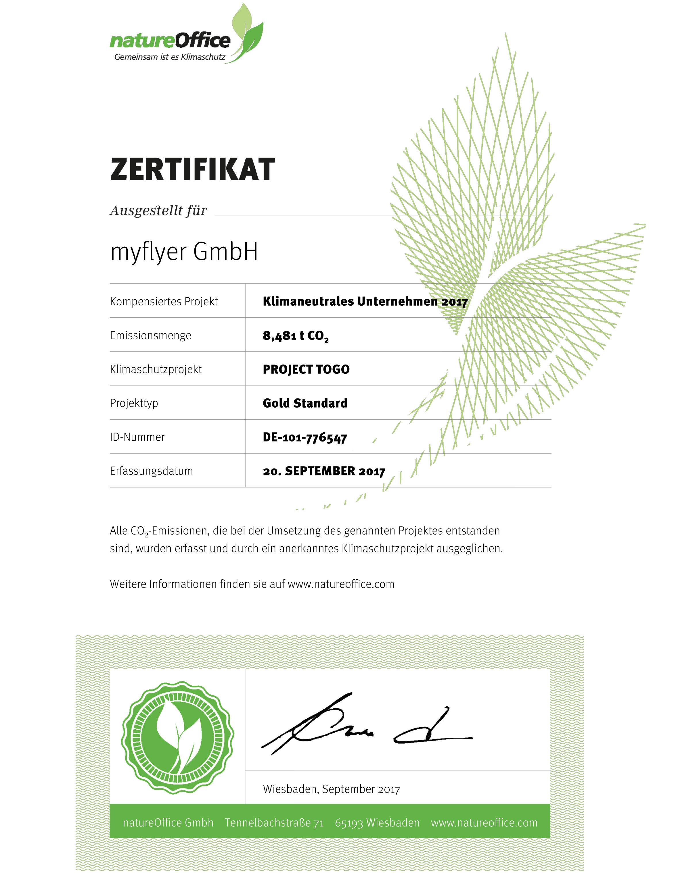 Zertifikat von natureoffice.com
