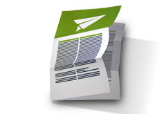 Folheto dobrado para envio postal