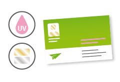 IMG: Veredelte Visitenkarten mit partiellem Lack und Heißfolie  Veredelte Visitenkarten mit partiellem Lack und Heißfolie
